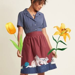 Modcloth Style Study Skirt in Scholarly Kitties XL